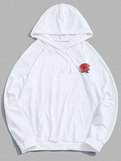 online Colorblock Rose Vase Peaceful Graphic Hoodie - WHITE 2XL Mobile