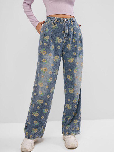 Jeans de Pierna Ancha con Bolsillo de Girasol - Azul M Mobile