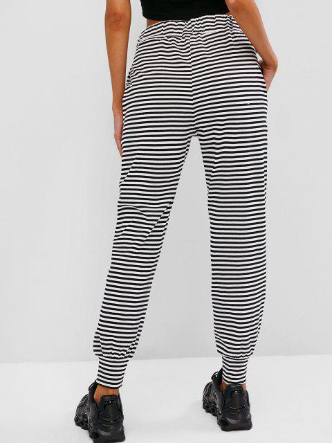 sale Drawstring Stripes Seam Pockets Sweatpants - BLACK M Mobile