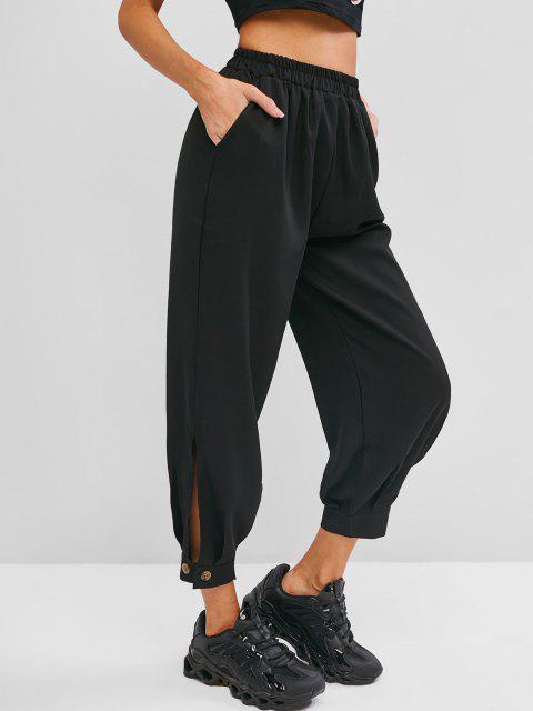 fashion Button Cuff Pocket High Rise Pants - BLACK S Mobile
