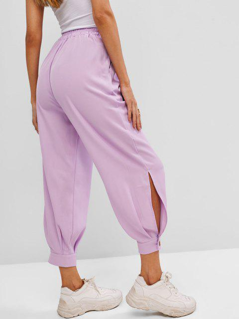 chic Button Cuff Pocket High Rise Pants - LIGHT PURPLE S Mobile