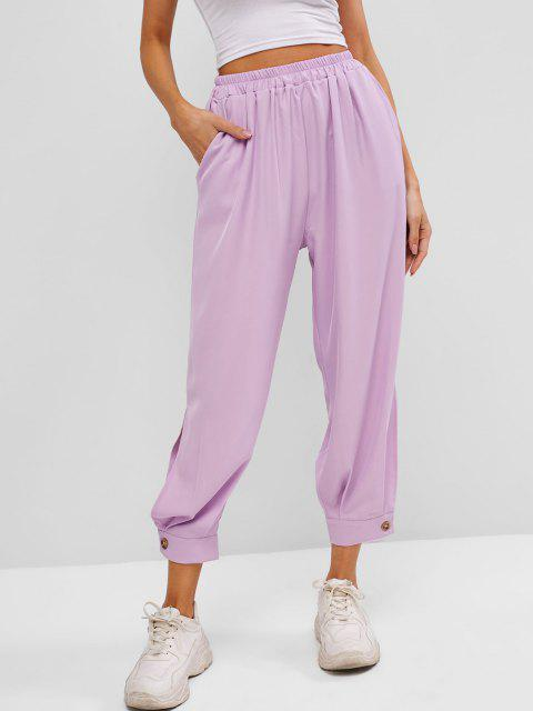 new Button Cuff Pocket High Rise Pants - LIGHT PURPLE XL Mobile