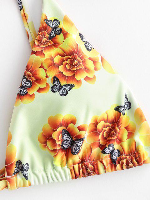 hot ZAFUL Floral Butterfly Print Padded Scrunchies Bikini Swimwear - YELLOW M Mobile