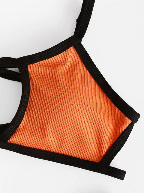 online ZAFUL Binding Ribbed Cutout Bikini Swimwear - ORANGE S Mobile