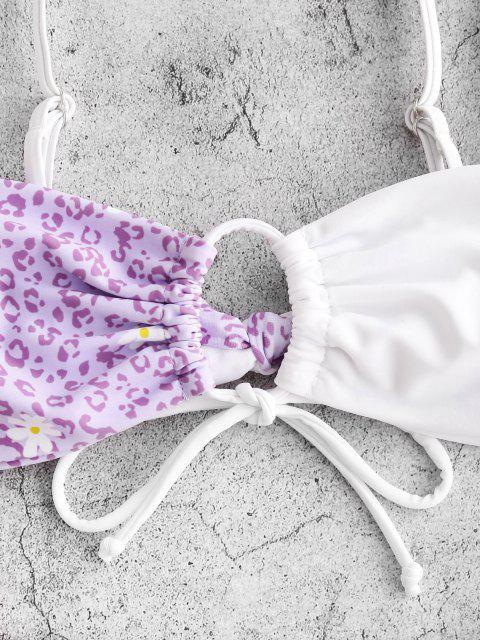 chic ZAFUL Tie Leopard Daisy High Cut Bikini Swimwear - LIGHT PURPLE S Mobile