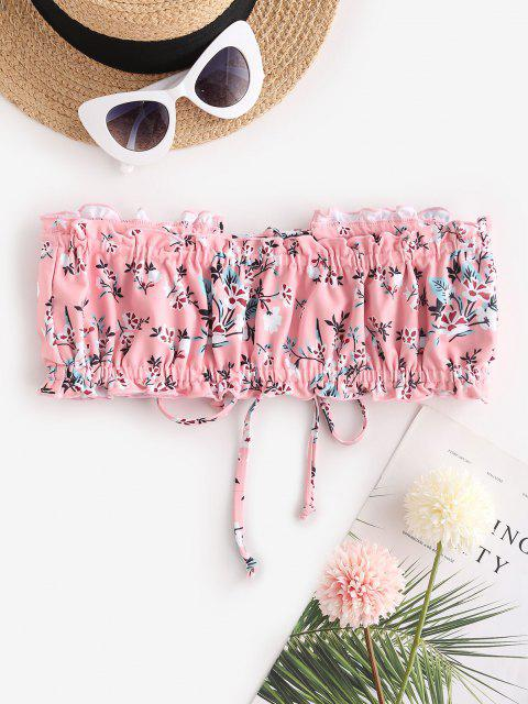 chic ZAFUL Ditsy Print Dual Ties Bandeau Bikini Top - LIGHT PINK M Mobile
