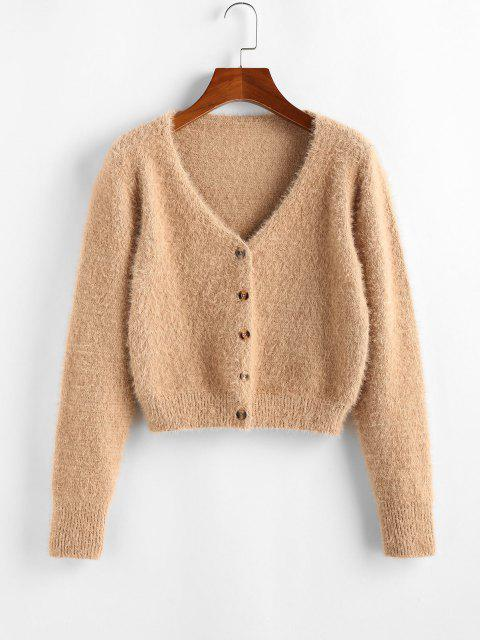 best ZAFUL Fuzzy Button Up Cardigan - LIGHT COFFEE L Mobile