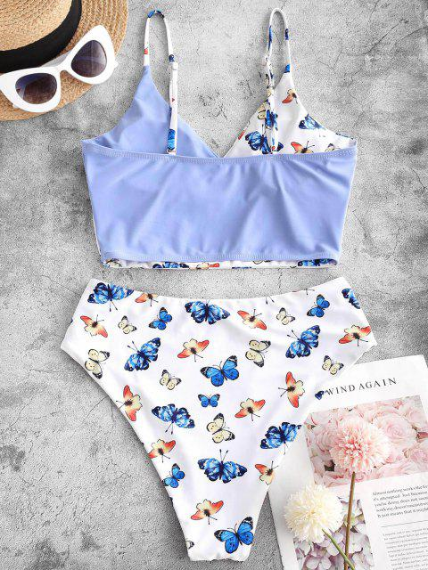 ZAFUL Farbblock Schmetterlingdruck Surplice Tankini Badebekleidung - Helles Blau S Mobile