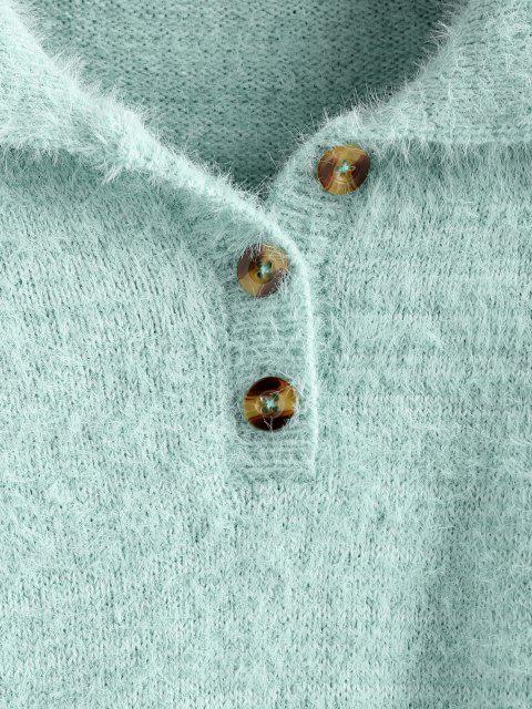 fashion ZAFUL Fuzzy Henley Knitwear - LIGHT GREEN XL Mobile