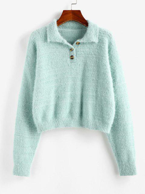 new ZAFUL Fuzzy Henley Knitwear - LIGHT GREEN L Mobile