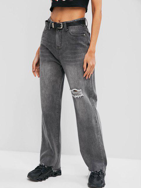 fashion Ripped Raw Hem Straight Leg Grunge Jeans - GRAY S Mobile