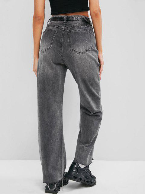 outfits Ripped Raw Hem Straight Leg Grunge Jeans - GRAY M Mobile