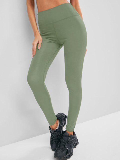 affordable Solid Stitching High Waisted Sports Leggings - LIGHT GREEN L Mobile