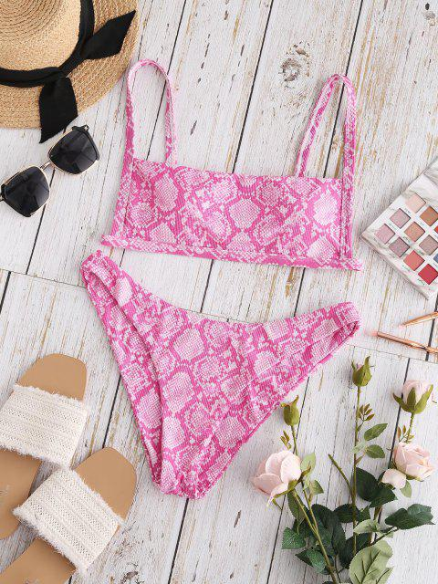 Conjunto de Bikini con Canalé con Estampado de Animal ZAFUL - Rojo S Mobile