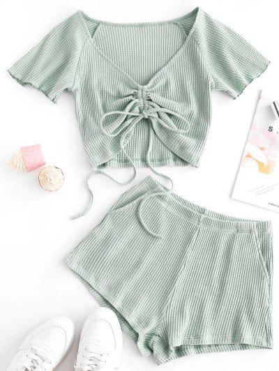 Textured Cinched Raglan Sleeve Loose Shorts Set - Light Green S