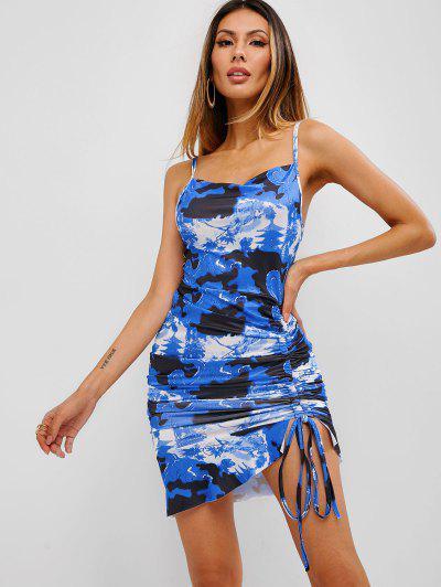 Robe Court Motif De Dragon Oriental à VolantsLacetsà Côté - Bleu Myrtille S