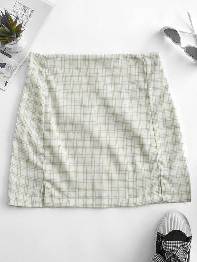 Back Zipper Plaid Slit Mini Skirt - Light Green S