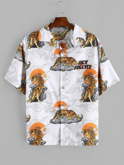 Tiger Sun Print Oriental Shirt - White Xl