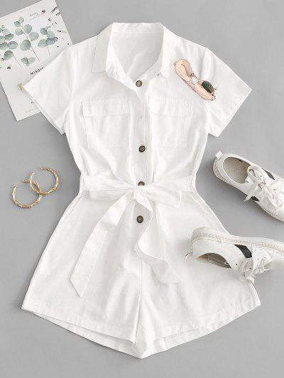 Belted Pockets Solid Cargo Romper - White S
