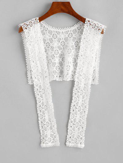 Crochet Lace Beach Shawl - White
