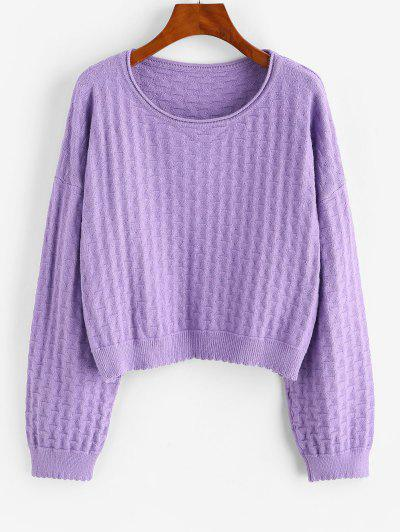 ZAFUL Drop Shoulder Plain Pullover Sweater - Purple