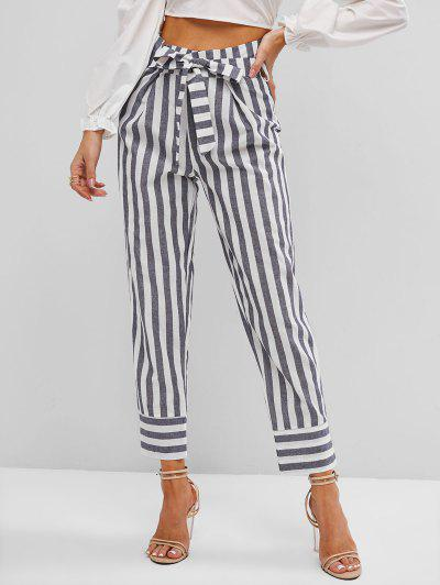 Stripes Belted Paperbag Pants - Gray S