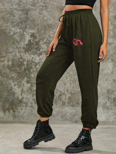 Dragon Print High Rise Oriental Jogger Pants - Deep Green S