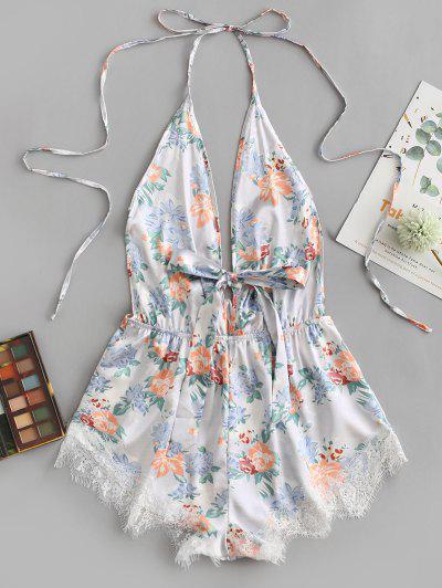 Floral Eyelash Lace Panel Tie Front Pajama Romper - Multi M