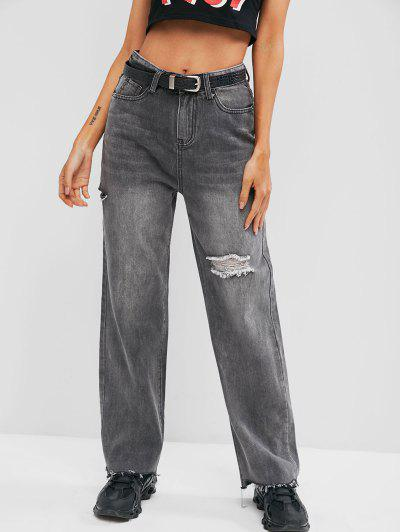 Ripped Raw Hem Straight Leg Jeans - Gray M