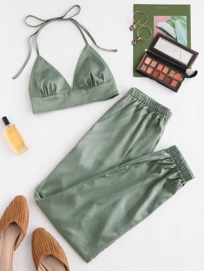 ZAFUL Satin Halter Smocked High Waisted Jogger Pants Set - Deep Green L