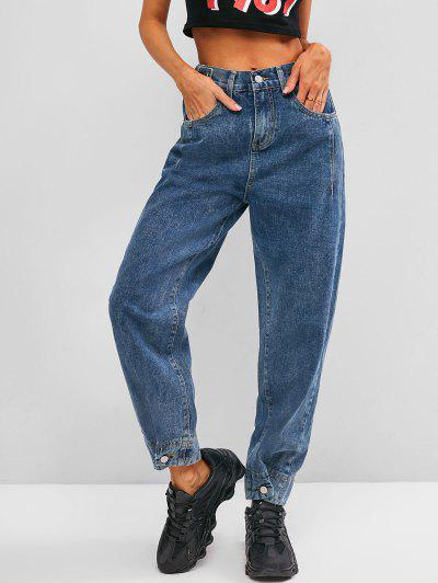 High Waisted Buttoned Tabs Jogger Jeans - Blue S