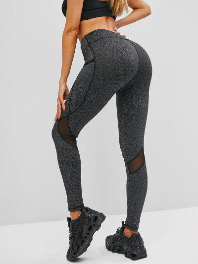 Side Pockets Heather Mesh Insert Leggings - Dark Gray M