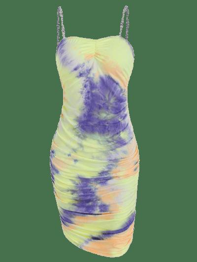 Tie Dye Gathered Chain Straps Mini Dress