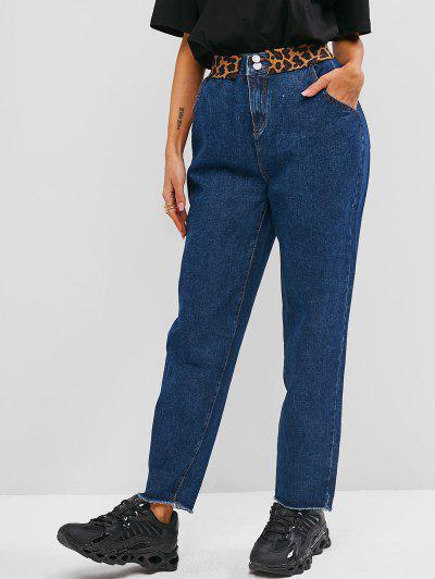 Frayed Hem Leopard Panel Straight Jeans - Blue M
