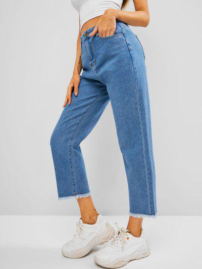 Frayed Hem Pocket High Waisted Straight Jeans - Blue S