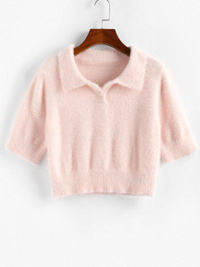 ZAFUL Fuzzy Crop Button Placket Sweater - Light Pink M