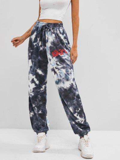Dragon Print High Rise Oriental Tie Dye Jogger Pants - Gray L
