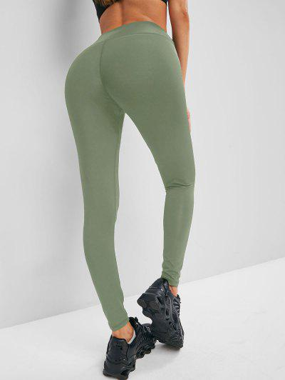 Solid Stitching High Waisted Sports Leggings - Light Green M