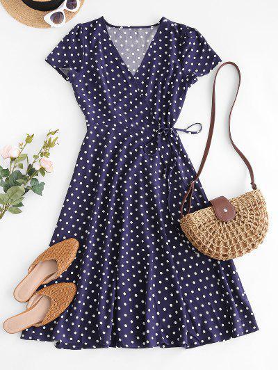 Polka Dot Print Wrap Midi Dress - Deep Blue M