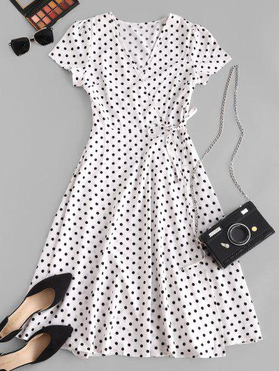 Polka Dot Print Wrap Midi Dress - White S