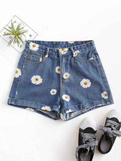 Cuffed Hem Daisy Print Denim Shorts - Deep Blue Xs
