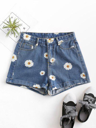 Cuffed Hem Daisy Print Denim Shorts - Deep Blue M