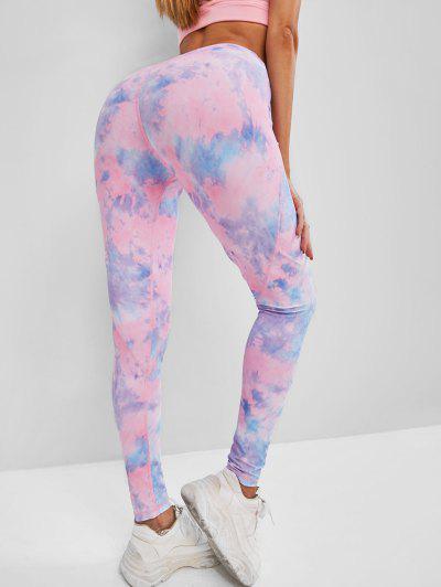 High Waisted Tie Dye Topstitching Leggings - Light Pink M
