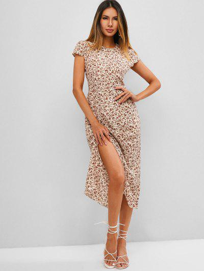 Ditsy Floral Cap Sleeve Slit Dress - Light Yellow M