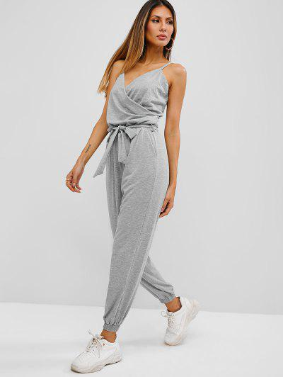 Cami Belted Surplice Jogger Jumpsuit - Light Gray S