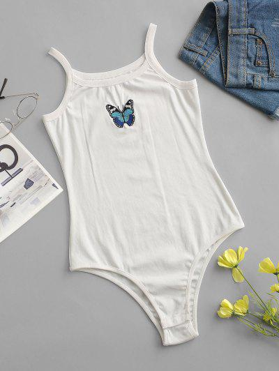 Snap Button Butterfly Embroidered Cami Bodysuit - White S