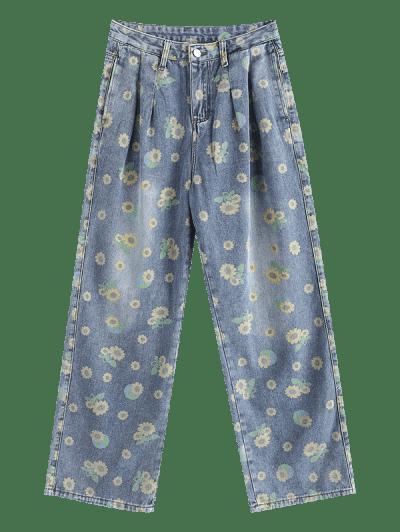 Sunflower Print Wide Leg Pocket Jeans