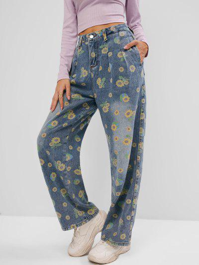 Sunflower Print Wide Leg Pocket Jeans - Blue M