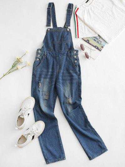 Distressed Pocket Boyfriend Overall Jumpsuit - Blue M