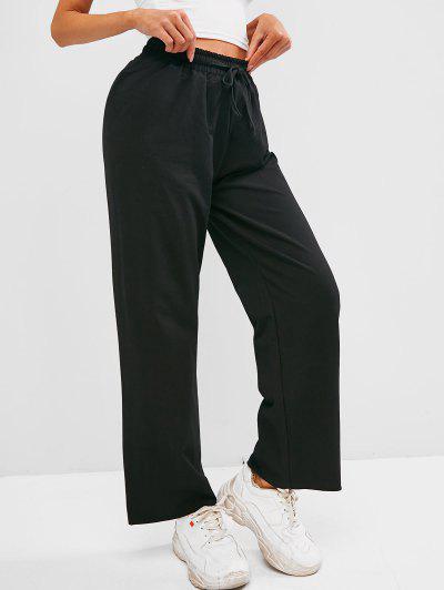 Drawstring Frayed Hem Wide Leg Pants - Black